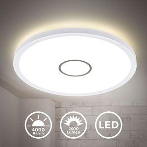 LED Deckenleuchte Deckenlampe Wandlampe 18 Watt 2.400 Lumen Neutralweiß 4.000K Weiß-Silber Rund Ø29cm Ultraflach 2,8cm B.K.Licht