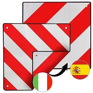 karpal Warntafel fuer Spanien und Italien 2 in1 rot-weiss Alu Warnschild 50x50cm PKW