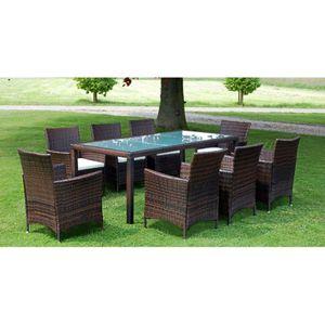 Gartenmöbel Essgruppe 8 Personen ,9-TLG. Terrassenmöbel Balkonset Sitzgruppe: Tisch mit 8 Stühle mit Auflagen Poly Rattan Braun❀1810