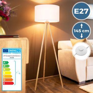 Jago® Tripod Stehlampe - EEK A++ bis E, LED, H 145cm, Ø45cm, E27, Stativ aus Holz, Stoffschirm, Skandinavischen Stil - Dreibein Stehleuchte, Wohnzimmerlampe, Standleuchte für Wohnzimmer, Schlafzimmer