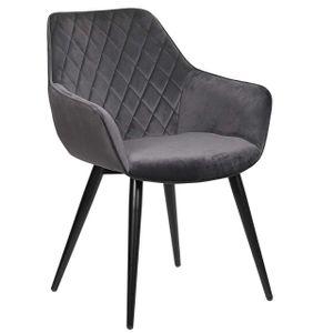 WOLTU Esszimmerstühle BH153dgr-1 1 x Küchenstuhl Wohnzimmerstuhl Polsterstuhl mit Armlehen Design Stuhl Samt Metall Dunkelgrau
