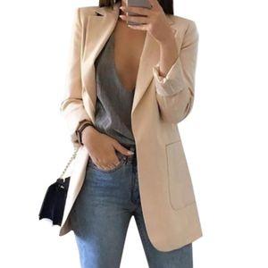 Mode Damen Revers Cardigan All-Match Temperament Blazer Schlanke Overalls Langarm Taschenknopf Blazer,Aprikose XXL