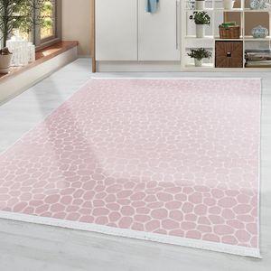 Waschbar Teppich Einfarbig Modern Steinoptik Rutschfest Super Soft Weich in Rose, Grösse:200x280 cm, Farbe:Rose