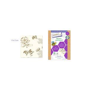 beeskin Bienenwachstuch Größe S, Lebensmittelaufbewahrung, Wiederverwendbar, Motiv Flower, 17 x 17 cm