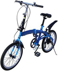 20''  Klappfahrrad  Klapprad  Faltrad  Mountainbike cityrad  7 Gang Fahrrad Doppel V Bremse  Kohlenstoffstahl   für Camping  Platzsparend Höhenverstellbar Blau