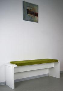 L Klemm-Kissen / Sitz-Kissen 115cm breit weich gepolstert - verrutscht nicht - Samtbezug Bankauflage, Farbe:oliv