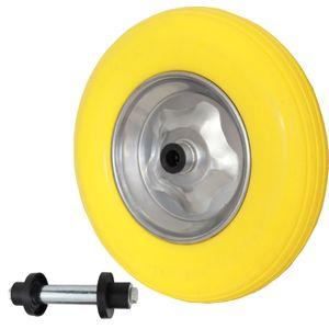 Schubkarrenrad pannensicher 4.80/4.00-8 mit Achse PolyurethanStahlfelge 200 kg Vollgummi