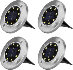 Speed 4x LED Solarlampe Bodeneinbaustrahler Solar Bodenleuchte Bodenlampe Außen 8Leds,Warmweiß