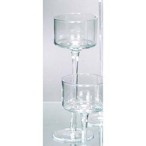 Teelichthalter Kerzenglas auf Fuß COPPA H. 25cm Ø 9cm Glas klar Rudolph Keramik