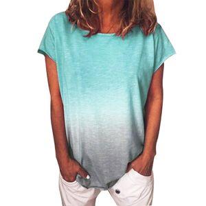 Plus Size Frauen Casual Tie Dye T-Shirt Sommer Rundhalsausschnitt Kurzarm T-Shirt Top Lake Green XXXXL