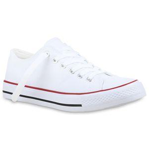 Mytrendshoe Damen Sneakers Kult Sportschuhe Stoffschuhe Freizeit Look 814414, Farbe: Weiß Rotstreifen, Größe: 39