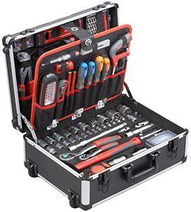 Meister Werkzeugtrolley 156-teilig - Werkzeug-Set - Mit Rollen - Teleskophandgriff / Profi Werkzeugkoffer befüllt / Werkzeugkiste fahrbar auf Rollen / Werkzeugbox komplett mit Werkzeug