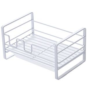 Rechteck Waschbecken Korb Lagerregal Haushalt Küche Reinigung Lappen Rack Waschbecken Arbeitsplatte Rack -White