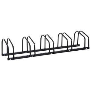 HOMCOM Fahrradständer Radständer Aufstellständer Mehrfachständer Fahrrad Ständer Boden- und Wandmontage Stahl Schwarz 130 x 33 x 27 cm bis 5 Fahrräder