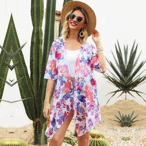 Mode Frauen Sommer Blumendruck Strickjacke Kurzarm Duenn Laessig Boehmischer Strand Kimono