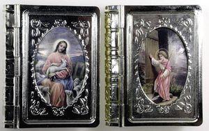 Rosenkranzdose Buchform - Metall, ca. 5 x 4 cm, sortiert