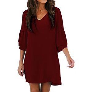 Damenmode Einfarbig Loses Kleid Kurzarm V-Ausschnitt Kleid Größe:S,Farbe:Kupfer
