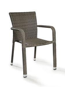 LC Garden Armlehnstuhl Stapelstuhl Barcelona grau mix ohne Sitzkissen, Aluminiumgestell