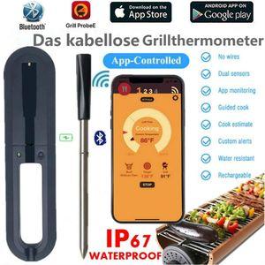 Grillthermometer Bluetooth Kabelloses Fleischthermometer Intelligentes Küchenthermometer Instant Read-Out für Küche, Grill, BBQ, Essen Unterstützt Android 8.0 und iOS