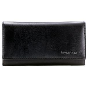 Bruno Banani Damen Portemonnaie / Geldbeutel Damen, Datenschutz Geldbörse RFID Blocker, Querformat, echt Leder, schwarz