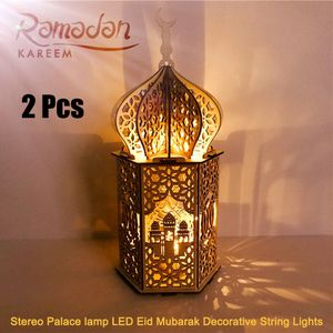 2 Stück Ramadan Laterne LED Holz Stereo Palace Lampe Eid Mubarak dekorative Laterne Ramadan Kareem Muslim Islam Party Supplie Vintage Festival Laterne