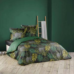 3tlg. Afrika Bettwäsche 240x220 grün Leopard Baumwolle Bettdecke Übergröße Bett