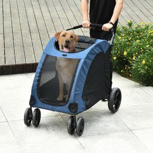 PawHut Hundebuggy Hundewagen Hundeanhänger Hundetasche klappbar Haustiere Oxford Groß Blau+Schwarz 98x82x110 cm