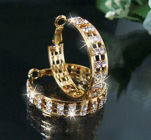 Ohrringe Gold pl Creolen 3cm Schmuck 2-reihig Strass klar O45