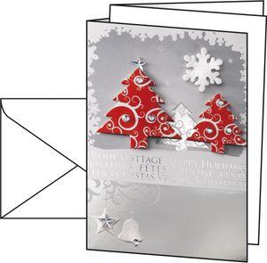 10x Sigel Karten + Umschlag Three Trees Weihnachten Gruß Klappkarte Handarbeit