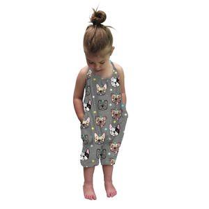 Kinderkleidung Sommer Mädchen drucken Sling Halfter Jumpsuit Romper Cute Größe:3-5 Jahre,Farbe:Beige