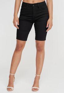 Damen Denim Capri Jeans Shorts 3/4 Super Stretch Kurze Sommer Chino Hose Big Size Bermuda Pants, Farben:Schwarz, Größe:40