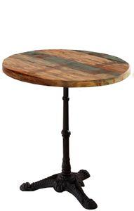 SIT Möbel Bistro-Tisch rund 60 cm | 30 mm Tischplatte Altholz bunt lackiert | Gestell Gusseisen schwarz | B 60 x T 60 x H 73 cm | 14003-11 | Serie TISCHE & BÄNKE
