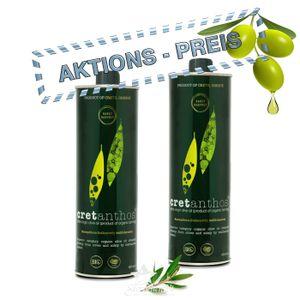 CRETANTHOS® 02553 - 2x500ml ΒIO Olivenöl Early Harvest (=1Liter) - Frühe Ernte von Kreta
