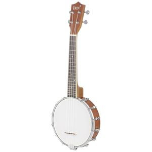23'' Banjo Sapele Holz 4-Saitig Banjolele Folk Ukulele Plektron Musikinstrument