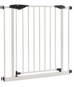 BOMI® Schutzgitter Mira 63-71 cm    Türschutzgitter schmal weiß Metall Selbstschließend   Treppenschutzgitter Türgitter Klemmgitter für Babys, Kleinkinder, Tiere