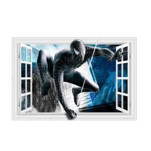 Wandtattoos  Spiderman in Schwarz Anzug Fenster Wand Aufkleber