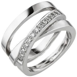 JOBO Damen Ring 58mm verschlungen 585 Gold Weißgold 12 Diamanten Brillanten Diamantring