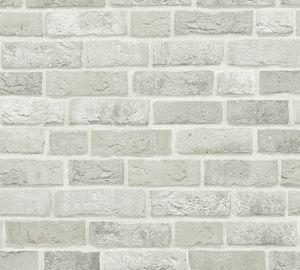 A.S. Création Steintapete Trendwall Tapete in Backstein Optik Vliestapete grau weiß 10,05 m x 0,53 m