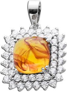 Bernstein Kettenanhänger cognac orange farbener Edelsteinanhänger Sterling Silber 925 orangefarbe
