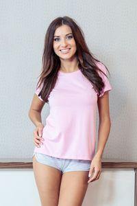 Schlafshirt - Basic T-Shirt in rosa Farbe - Größe: M - Bonamera