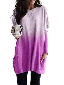 Plus Size Damen V-Ausschnitt Solid Shirt Top Damen Spitze Langarm Casual Bluse,Farbe: Lila,Größe:XXL