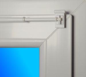 """Dekondo Gardinenstange """"Style"""" ausziehbar 80-120cm Weiß - 1 Paar Klemmträger 10-27mm (Befestigung oben oder seitlich möglich)"""