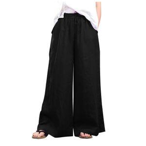 Mode Frauen lose einfarbige lässige Hose mit weitem Bein Baumwoll-Leinenhose Größe:5XL,Farbe:Schwarz
