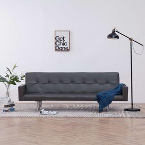 CHIC® Schlafsofa im skandinavischen Stil, Eckcouch|Polstersofa Bettsofa Lounge Sofa für Wohnzimmer mit Armlehnen Grau Kunstleder Größe:184 x 77,5 x (60,5 / 64 / 66,5) cm※7952