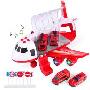 Polizei Flugzeug Auto Spiel Spielzeug Set Flugzeug Spielzeug für Jungen Mädchen Kinder, Rot