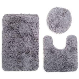3tlg Badezimmer Set Hochflor Teppich Badvorleger Badteppich Toilettenbezug Badezimmermatte Badematten Grau
