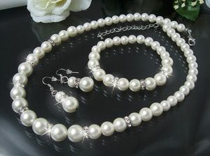 Schmuck Set Collier Ohrringe Armband 3-Teile Perlen cream S1233