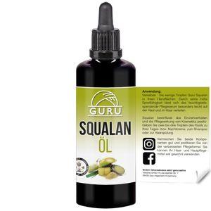 Guru Squalan Öl - 100 ml - in lichtgeschützter, ultravioletter Glasflasche mit Pipette - für Haut, Haare und Kosmetik