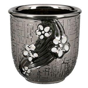 dekojohnson eleganter Keramik-Übertopf mit Blumendekor 13Ø Blumentopf Blumenübertopf Ziertopf Blumengefäß Blumenscherbe schwarz silber 13x13cm