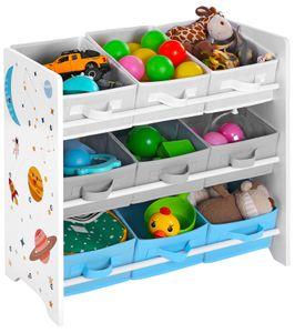 SONGMICS Kinderregal mit 9 Boxen aus Fleece | 62,5 x 29,5 x 60 cm Spielzeug-Organizer Bücherregal für Kinder weiß GKR33WT